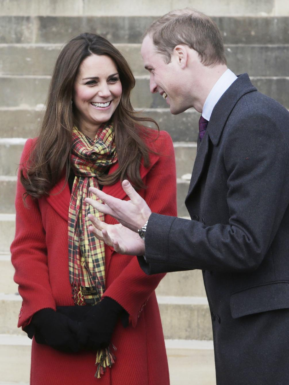 FILE - This is a Friday April 5, 2013 file photo Britain's Prince William and Kate Duchess of Cambridge, smile during a visit to Dumfries House in Dumfries, Scotland, to attend the opening of an outdoor centre. Prince William's wife Kate has been admitted to the hospital in early stages of labor it was announced on Monday July 22, 2013. (AP Photo/Danny Lawson, Pool)