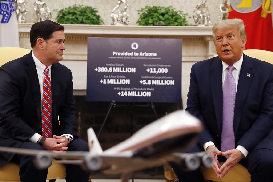 Trump praises Arizona as 'model' for pandemic as cases, deaths remain high