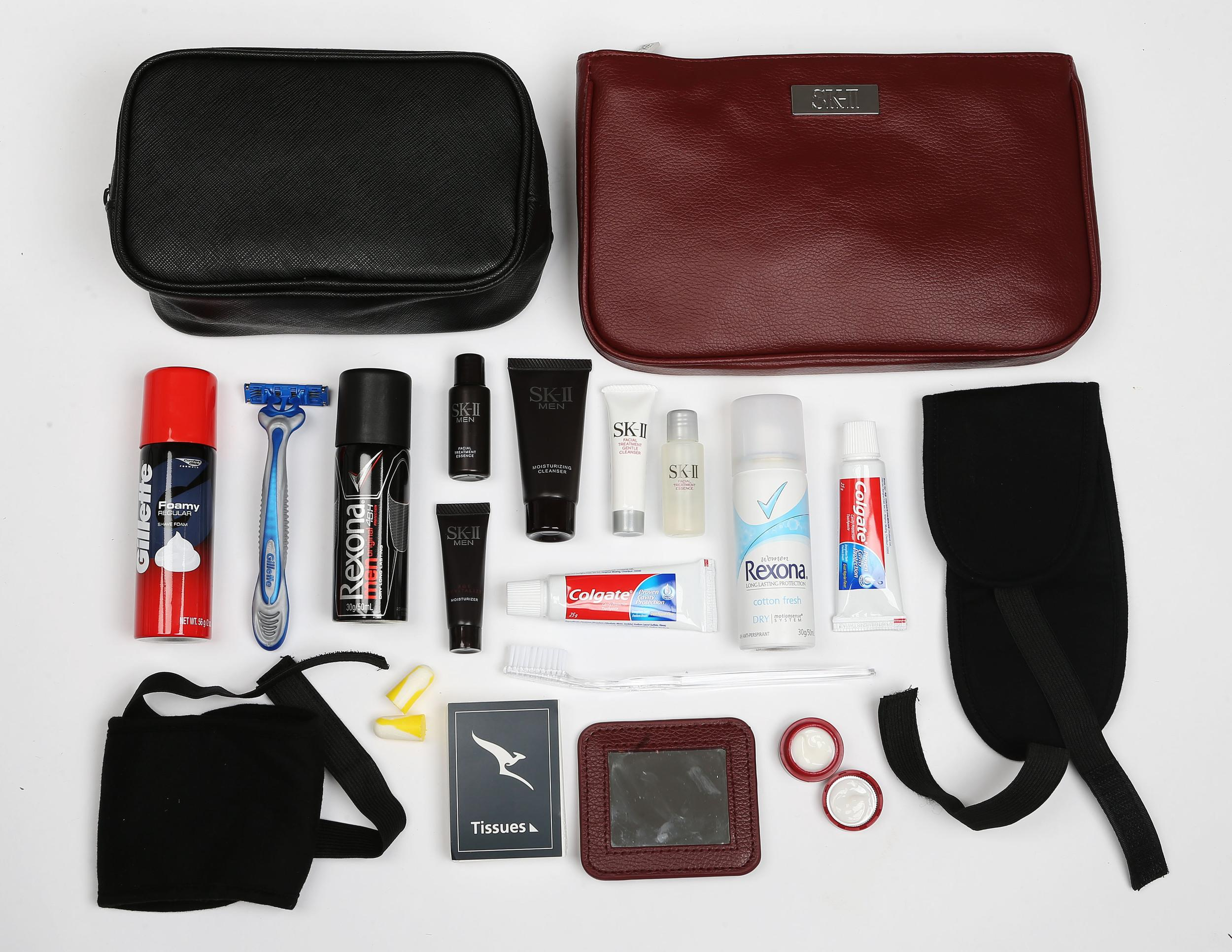 <p><strong>What do you get?</strong> Men's: Australian-designed toilet bag in black filled with SK-II Moisturising Cleanser, Age Revitalising Moisturiser and Facial Treatment Essence, eye mask, ear plugs, toothbrush, toothpaste, Gillette shave foam, Gillette razor, Rexona aerosol deodorant, voucher for an SK-II skin consultation and facial treatment mask through Myer and David Jones in Australia<br /> Women's: Clutch-sized Australian designed toilet bag in red filled with pocket mirror, SK-II Facial Treatment Gentle Cleanser, Facial Treatment Essence and Stempower Moisturiser, tissues, toothbrush, toothpaste, eye mask, ear plugs, Rexona aerosol deodorant, voucher for an SK-II skin consultation and facial treatment mask through Myer and David Jones in Australia.<br /> <strong>Best bit of the kit?</strong> The mirror.</p>