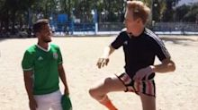 Conan O'Brien wore the most ridiculous shorts playing soccer with Giovani Dos Santos