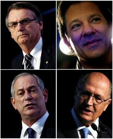 A combination picture shows (top row L-R) presidential candidates Jair Bolsonaro and Fernando Haddad (bottom row L-R) Ciro Gomes and Geraldo Alckmin respectively, from Reuters files. REUTERS/Nacho Doce/Paulo Whitaker/Leonardo Benassatto/Adriano Machado/File Photo
