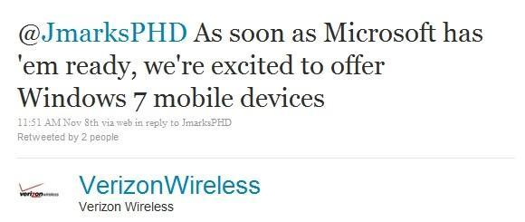 Verizon happy to offer Windows Phone 7 devices 'as soon as Microsoft has 'em ready'