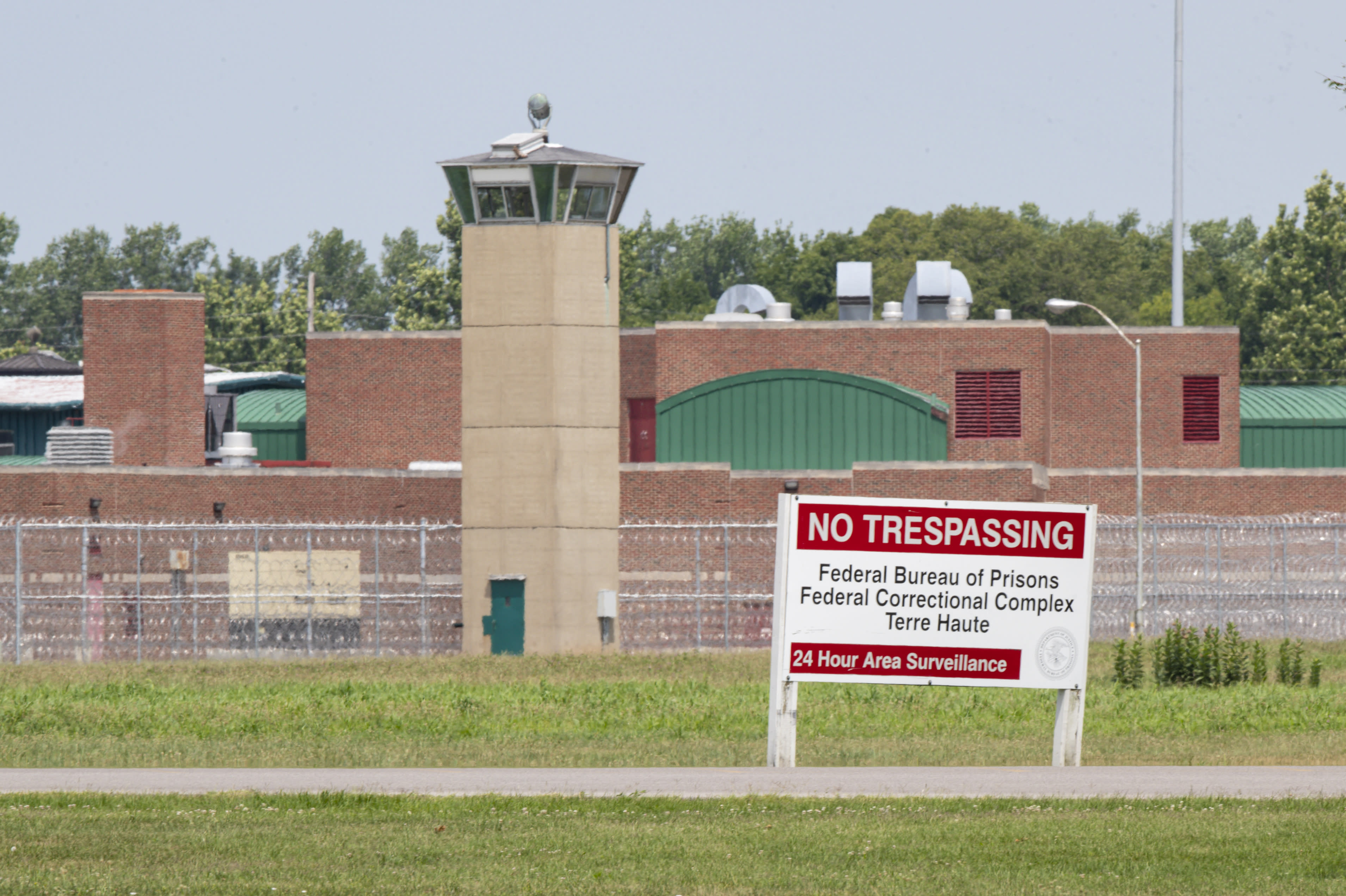 The entrance to the federal prison in Terre Haute, Ind., is seen Wednesday, July 15, 2020. Wesley Ira Purkey, convicted of a gruesome 1998 kidnapping and killing, is scheduled to be executed Wednesday evening at the prison. (AP Photo/Michael Conroy)