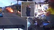 Terrifying footage shows fiery end to truck rampage