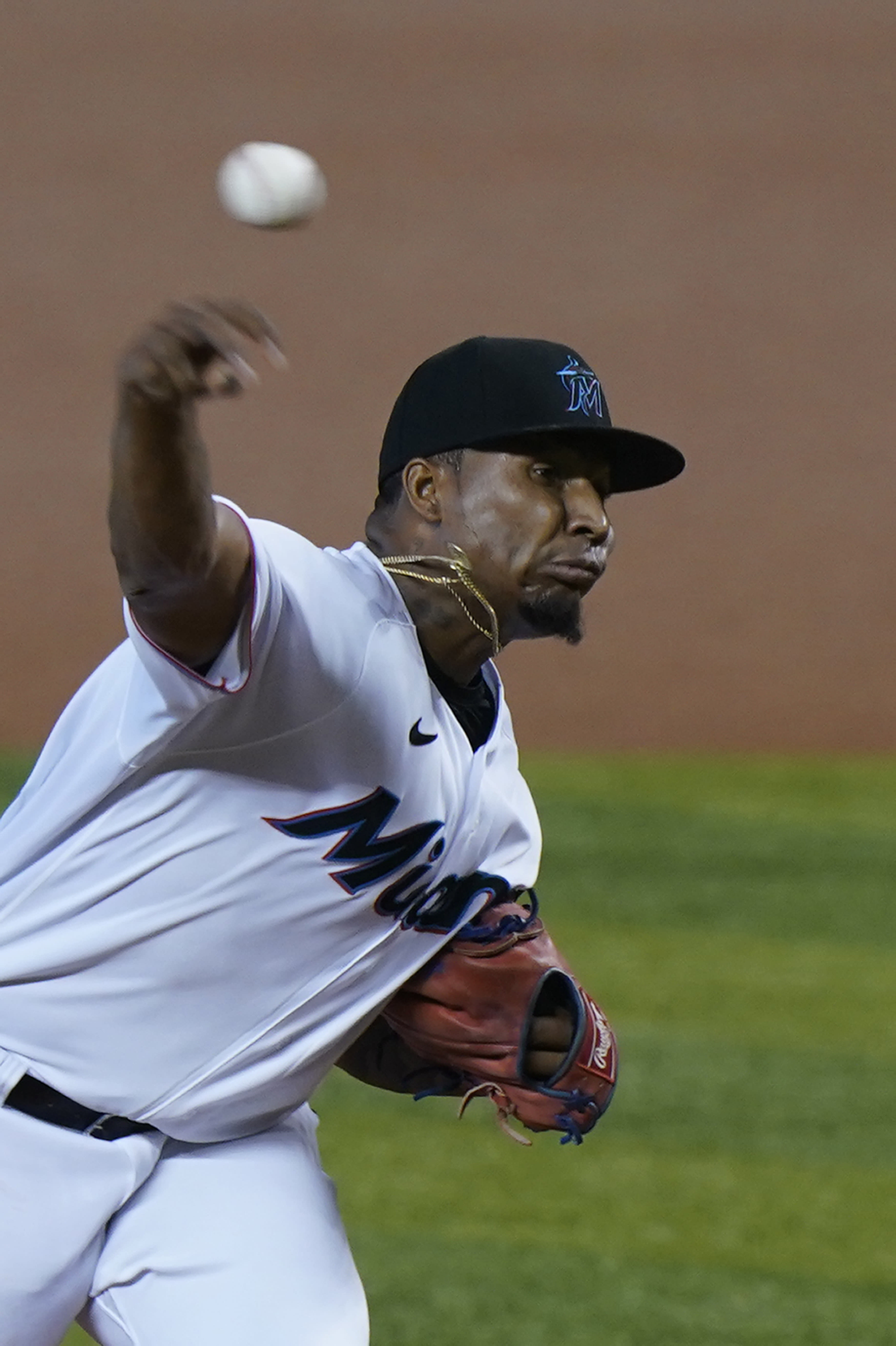 Miami Marlins' Sixto Sanchez pitches during the first inning of the first game of a baseball doubleheader against the Philadelphia Phillies, Sunday, Sept. 13, 2020, in Miami. (AP Photo/Wilfredo Lee)