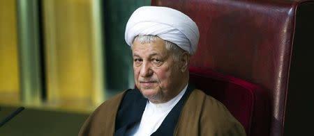 Former Iranian president Akbar Hashemi Rafsanjani attends Iran's Assembly of Experts' biannual meeting in Tehran