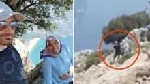 Tourist's chilling video before man 'pushes pregnant wife off cliff'