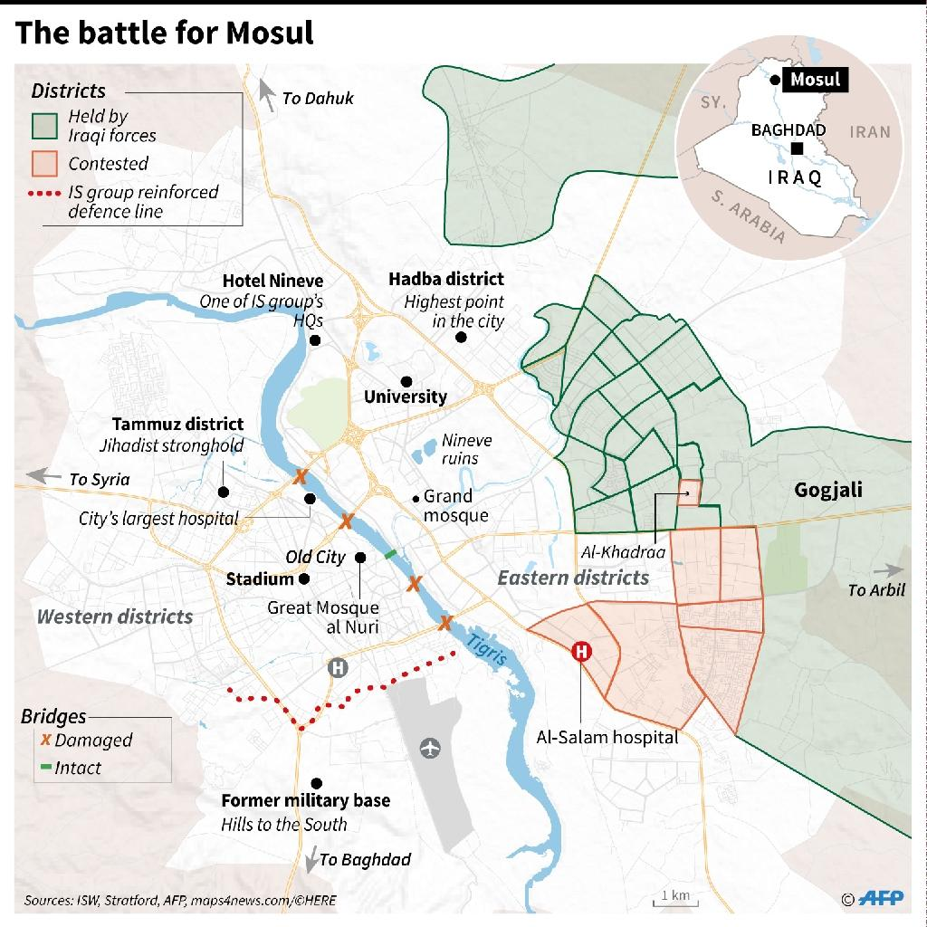 Map of Mosul showing the advance of Iraqi government troops in the Jihadist-held city (AFP Photo/Sabrina Blanchard, Thomas Saint-Cricq, Simon Malfatto)