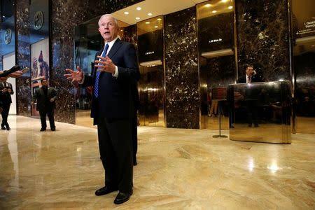 U.S. Senator Jeff Sessions (R-AL), an advisor to U.S. President Elect Donald Trump, speaks to members of the media in the lobby of Trump Tower in the Manhattan borough of New York City, New York November 17, 2016. REUTERS/Mike Segar