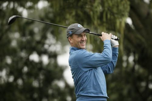 Peyton Manning golfing at Pebble Beach in February. (AP)