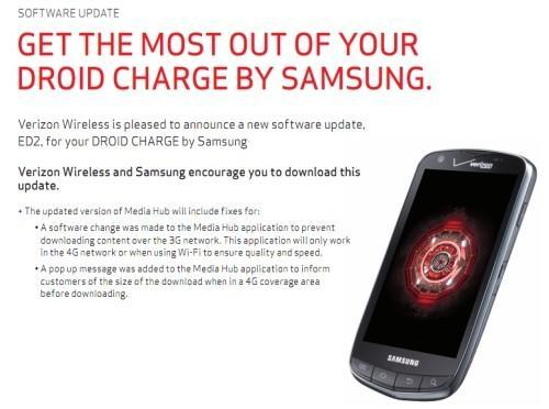 Samsung Droid Charge gets minor update to Media Hub, Verizon extends free Thunderbolt hotspot offer