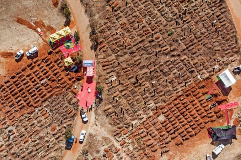 An aerial picture of funerals being conducted last week at at the Olifantsvlei Cemetery in the Johannesburg suburb of Soweto (AFP Photo/MARCO LONGARI)