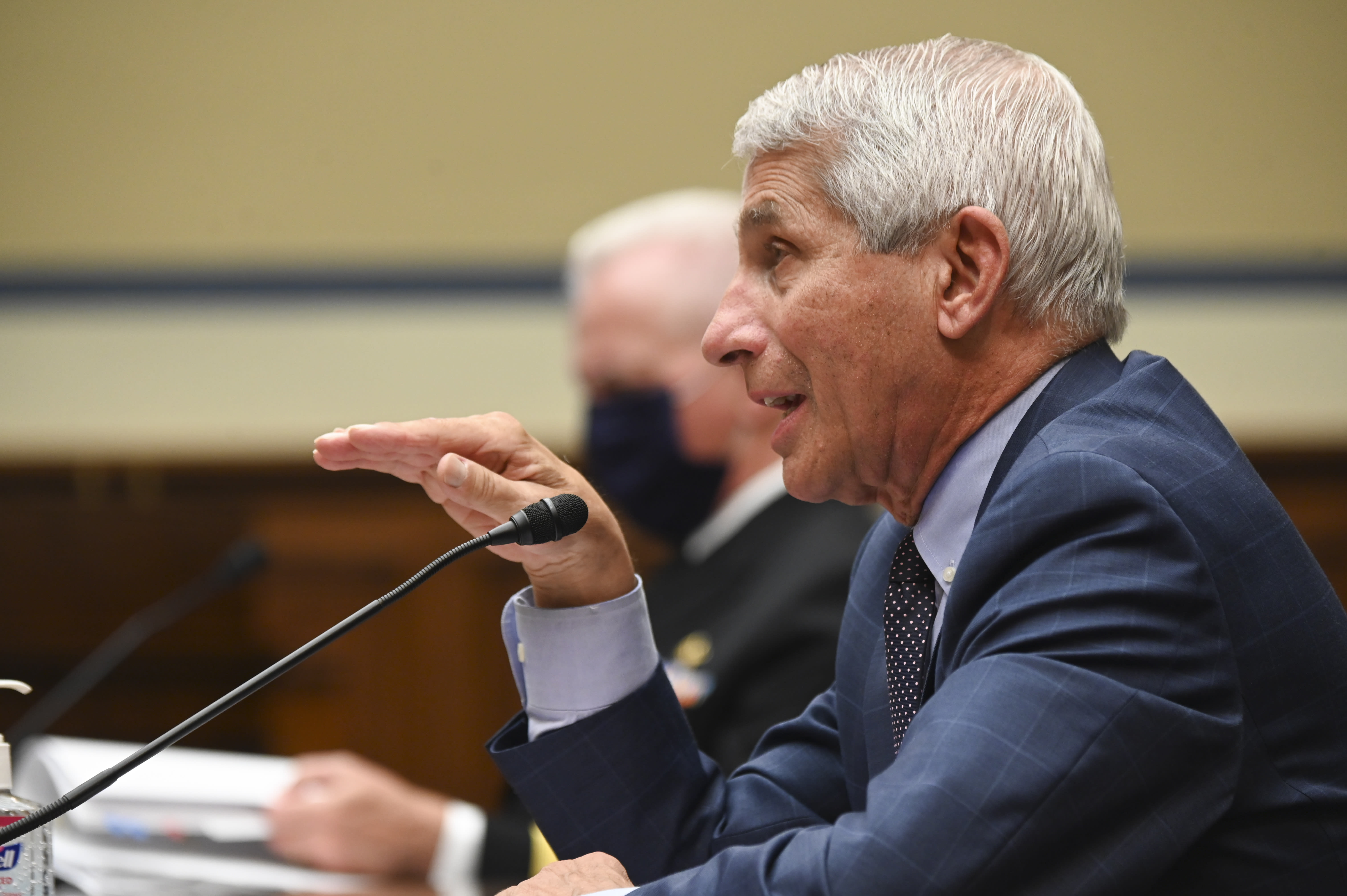Dr. Anthony Fauci, director of the National Institute of Allergy and Infectious Diseases, speaks during a House Select Subcommittee hearing on the Coronavirus, Friday, July 31, 2020 on Capitol Hill in Washington. (Erin Scott/Pool via AP)
