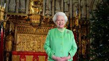The Queen watches her own Christmas speech