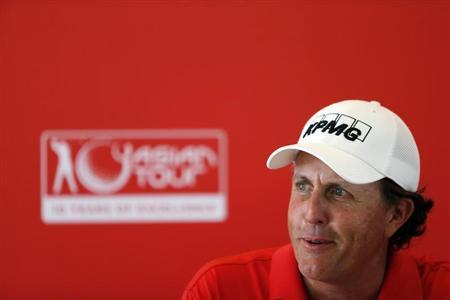 U.S. golfer Phil Mickelson speaks during a news conference at the Kuala Lumpur Golf and Country Club in Kuala Lumpur