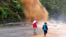Gushing 'waterfall' spills water onto Jalan Simpang Pulai - Cameron Highlands