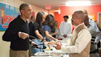 Obamas Serve Thanksgiving Dinner to the Homeless