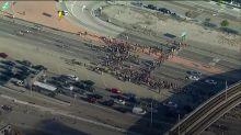 Protest over death of unarmed black man blocks Los Angeles motorway