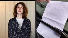 Lucas Jagger deixa bilhete para motorista que parou em vaga de deficiente: 'Cidadania, né?'