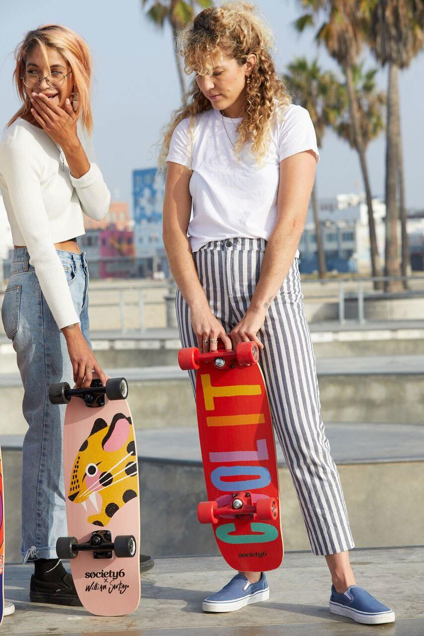 """Skateboarding skills not at all required.<br> <a href=""""https://society6.com/product/skateboard-pintada"""" rel=""""nofollow noopener"""" target=""""_blank"""" data-ylk=""""slk:SHOP NOW"""" class=""""link rapid-noclick-resp"""">SHOP NOW</a>: Pintada by Willian Santiago Skateboard, $120<br> <a href=""""https://society6.com/product/skateboard-cool-it"""" rel=""""nofollow noopener"""" target=""""_blank"""" data-ylk=""""slk:SHOP NOW"""" class=""""link rapid-noclick-resp"""">SHOP NOW</a>: Cool It by Julia Walck Skateboard, $120"""