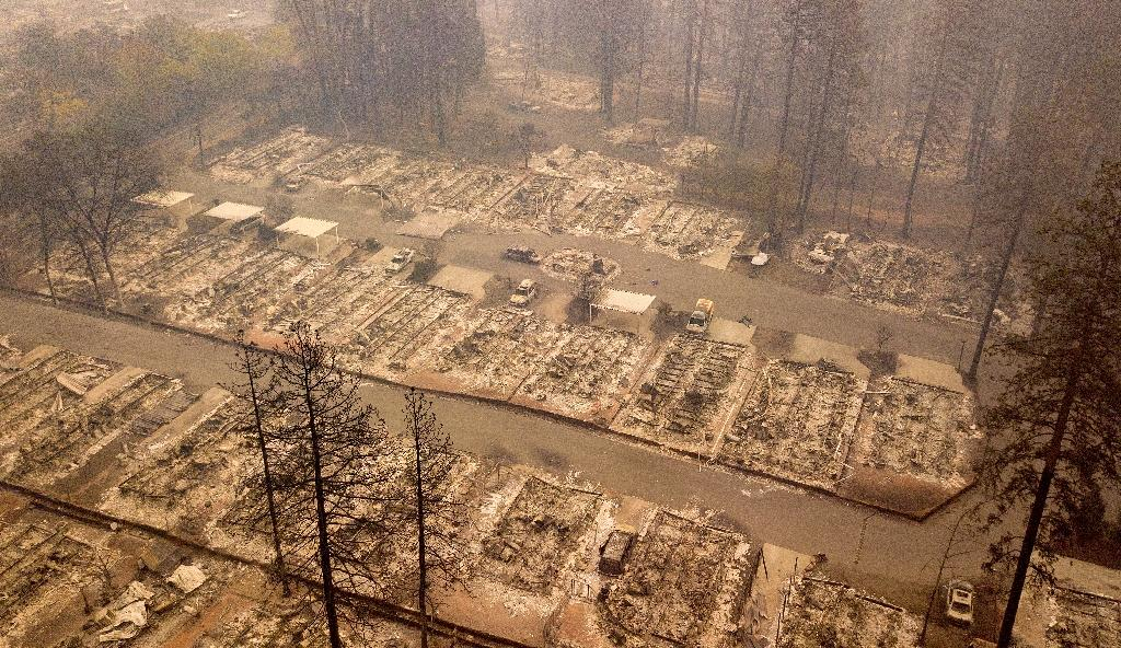 In this aerial photo, a burned neighborhood is seen in Paradise, California (AFP Photo/Josh Edelson)