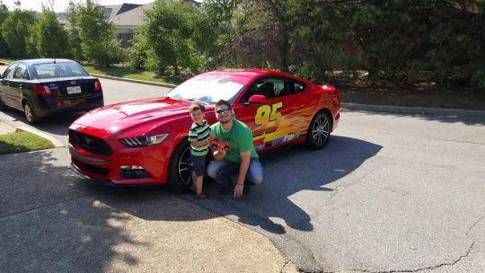 playful dad creates lightning mcqueen car for 3 year old. Black Bedroom Furniture Sets. Home Design Ideas