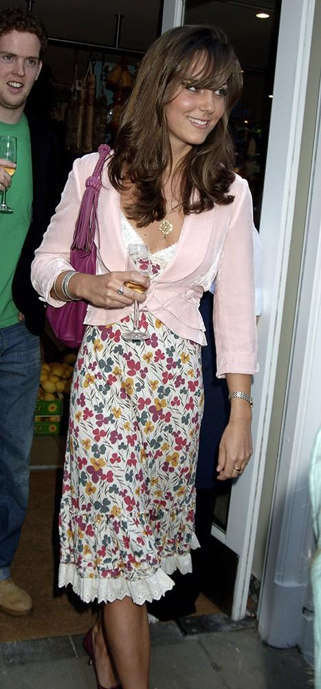 Kate wore a floral dress and pink jacket to a store opening, letting her bangs fall to a fringe.