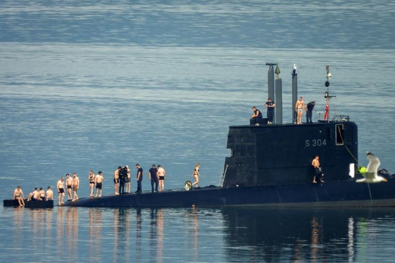 """The Norwegian defence ministry said the crew took the opportunity to """"cool off in the summer heat"""""""