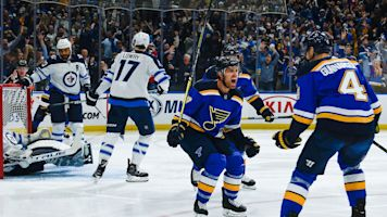 Schwartz nets hat trick as Blues eliminate Jets