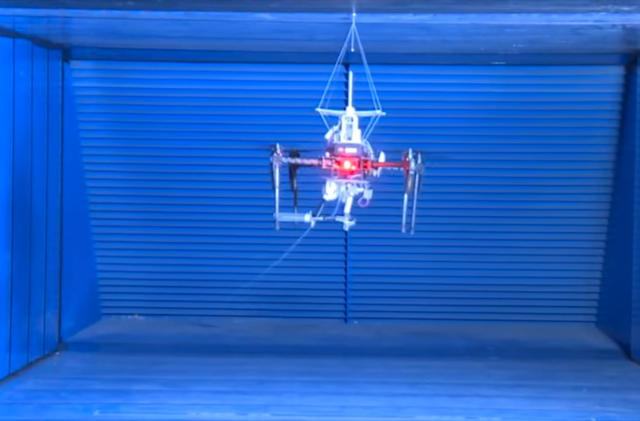 SpiderMAV drone shoots 'webs' at walls to perch in place