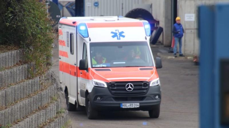 An ambulance arrives at the scene after an explosion at the Teutschenthal mine near Halle