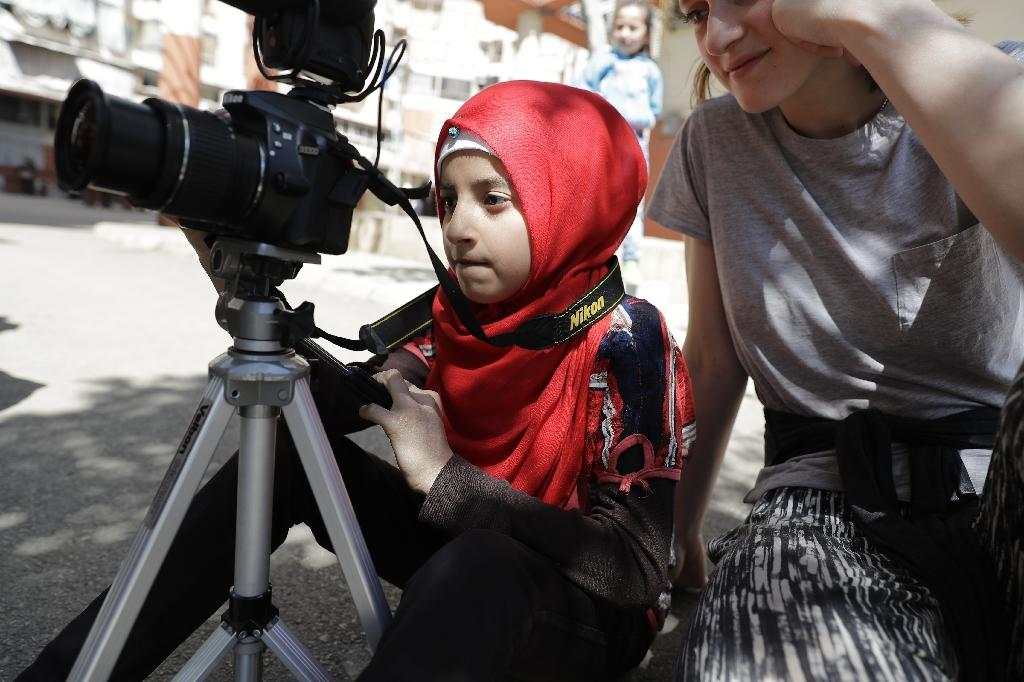 The Refugee Film Project is an initiative by international organisation SB OverSeas that is helping Syrian refugee children in Lebanon write, direct, and act in their own short movies (AFP Photo/JOSEPH EID)