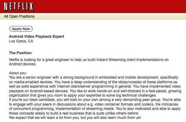 Netflix looking to hire 'Android video playback expert'