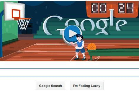 Google keeps the interactive Olympic doodles going, tests your spacebar with a game of hoops