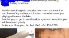 Escribe un mensaje a su abuelo fallecido, ¡junto a sus fotos desnuda!