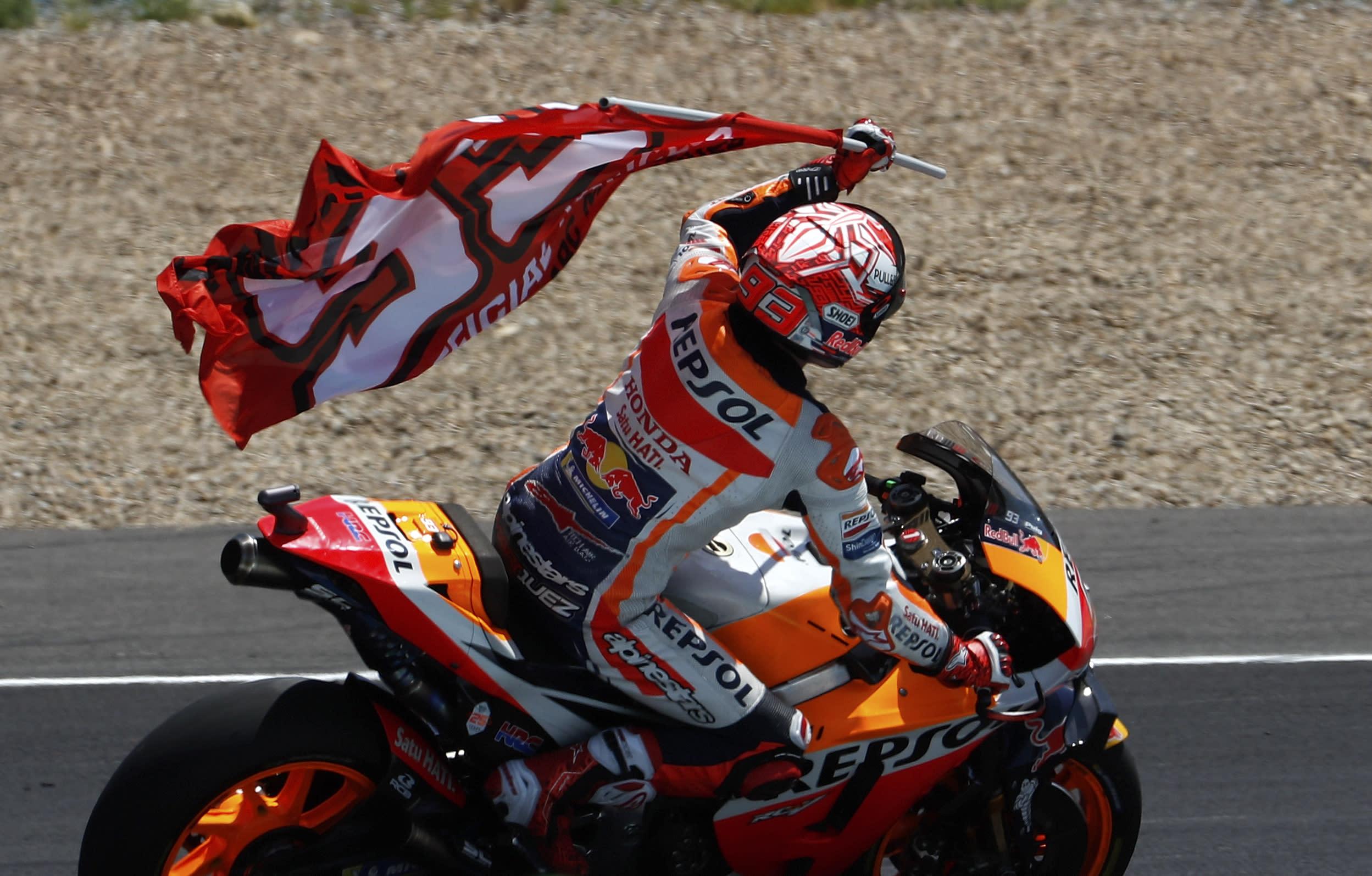 MotoGP rider Marc Marquez of Spain celebrates after winning the Spanish Motorcycle Grand Prix at the Angel Nieto racetrack in Jerez de la Frontera, Spain, Sunday, May 5, 2019. (AP Photo/Miguel Morenatti)