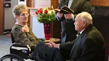 Elderly couple aged 83 and 77 finally tie the knot after 35 YEARS of unmarried bliss