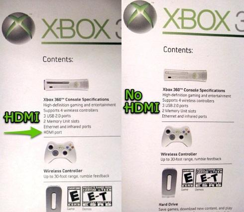 Spot the HDMI-enabled Xbox 360 Premium at retail