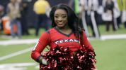 Simone Biles spends day as Texans cheerleader