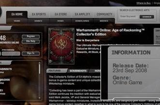 Warhammer Online launches Sept 23, says EA website