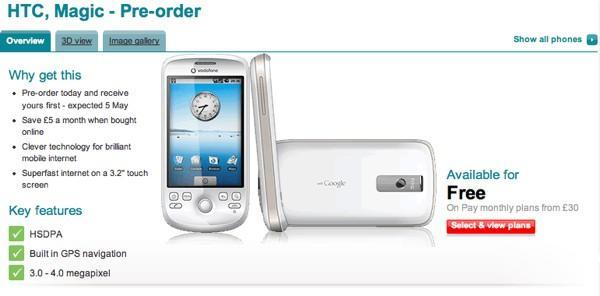 HTC Magic up for pre-order from Vodafone: due out May 5th, free with monthly plan