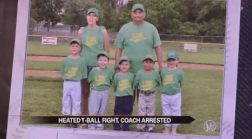 Oscar Cantu with his T-ball team — WBND screen shot