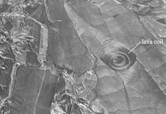 Lava coil (10 meter diameter) on the surface of the 1974 Hawaiian pahoehoe lava flow.