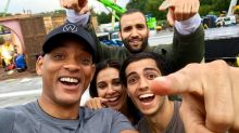 Will Smith shares selfie with Aladdin cast as live-action remake starts production
