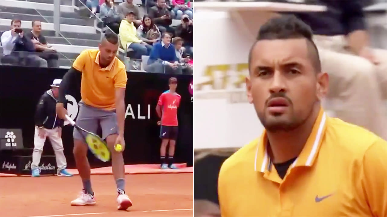 'Genius idea': Nick Kyrgios begins match in never-before-seen fashion