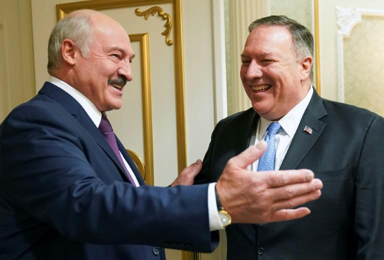 Mike Pompeo (R), seen meeting President Alexander Lukashenko in Minsk, was the first US Secretary of State to visit Belarus since 1994