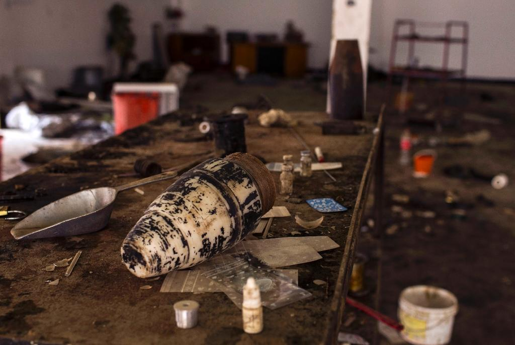 Materials used by Islamic State group members to make explosives, at the Saint George Church in Qaraqosh, 30 km east of Mosul