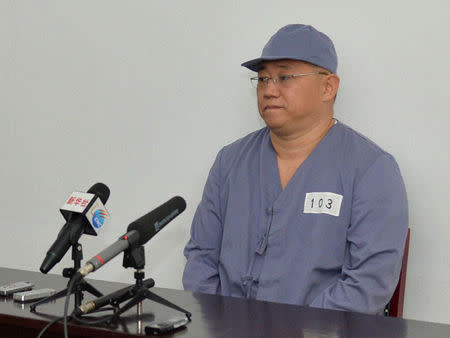 Kenneth Bae, a Korean-American Christian missionary who has been detained in North Korea for more than a year, meets a limited number of media outlets in Pyongyang, in this file photo taken by Kyodo January 20, 2014. REUTERS/Kyodo Files