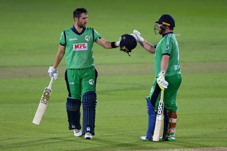 Andy Balbirnie and Paul Stirling scored centuries during Ireland's dramatic win (AFP Photo/Mike Hewitt)