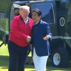 Trump plays golf with Japanese PM Shinzo Abe during 4-day state visit